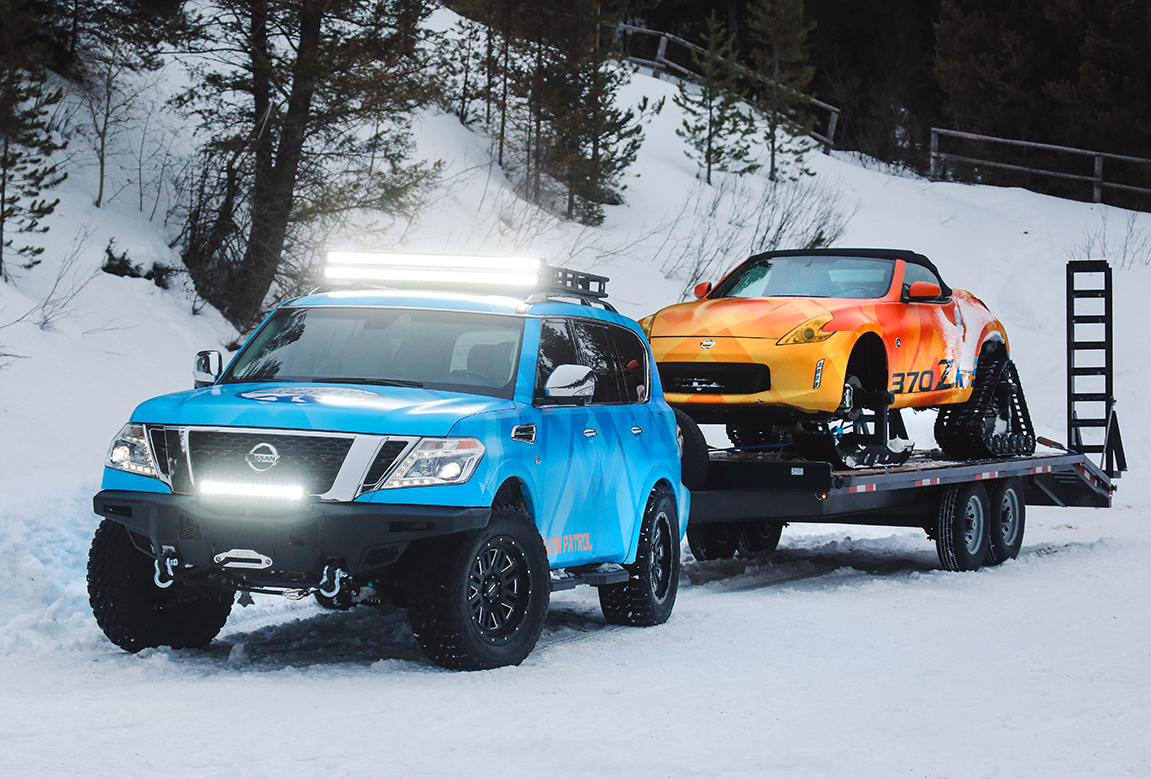Nissan Armada Snow Patrol and the Nissan 370Zki Roadster Snowmobile.