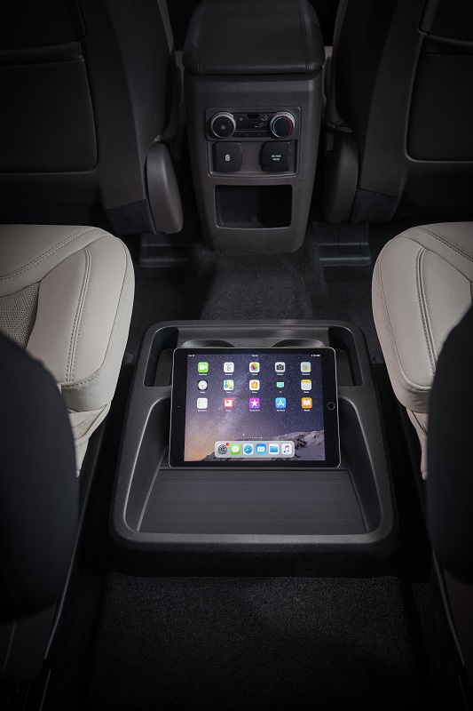 An available 10.1-inch capacitive touch screen mounted in portrait configuration on the center stack will feature Navigation maps can fill the entire screen for easy viewing, or split the space with audio information. The updated standard SYNC 3 system's more intuitive layout will offer available features such as Apple CarPlay, Android Auto and Waze navigation. The touch screen shares information with the available 12.3-inch all-digital instrument cluster, which displays important vehicle information such as speedometer and gas gauge. It uses 3D animated graphics to change information depending on which of the seven drive modes are selected using the available Terrain Management System.